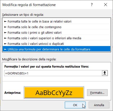 Schermata Excel Calendario 2022 Formattazione Condizionale