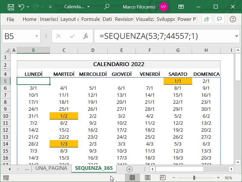 Schermata Excel Calendario 2022 Una Pagina con funzione SEQUENZA