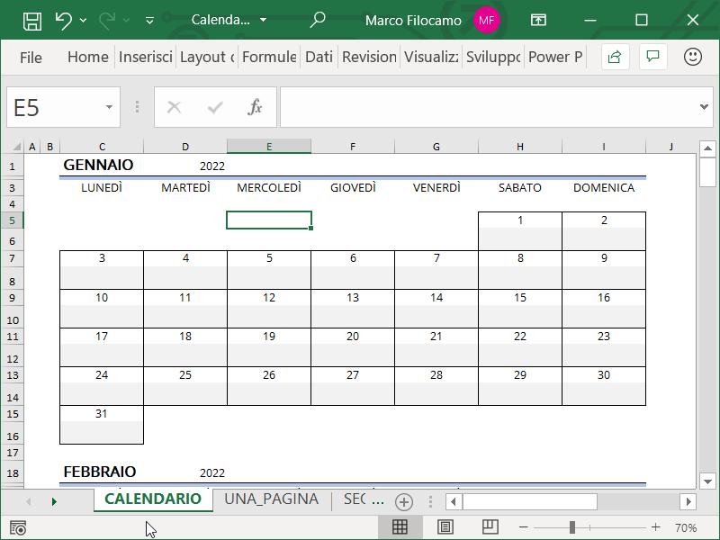 Schermata template calendario Microsoft Excel 2022