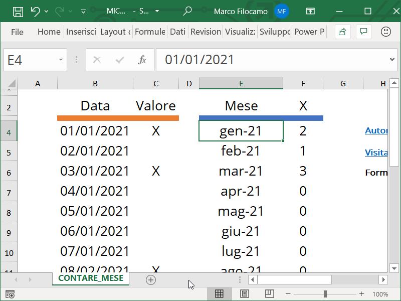 Schermata Microsoft Excel formato speciale per mese