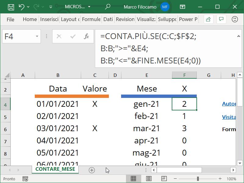 Microsoft Excel formula per contare i valori in un dato mese