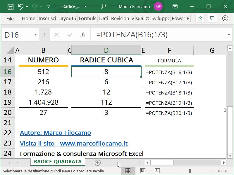 Schermata Microsoft Excel formula radice cubica