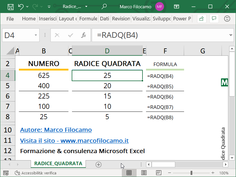 Schermata Microsoft Excel calcolo radice quadrata