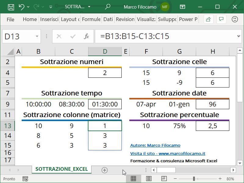 Schermata Excel sottrazione colonne con matrice