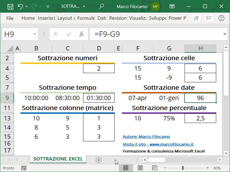Schermata Excel sottrazione date