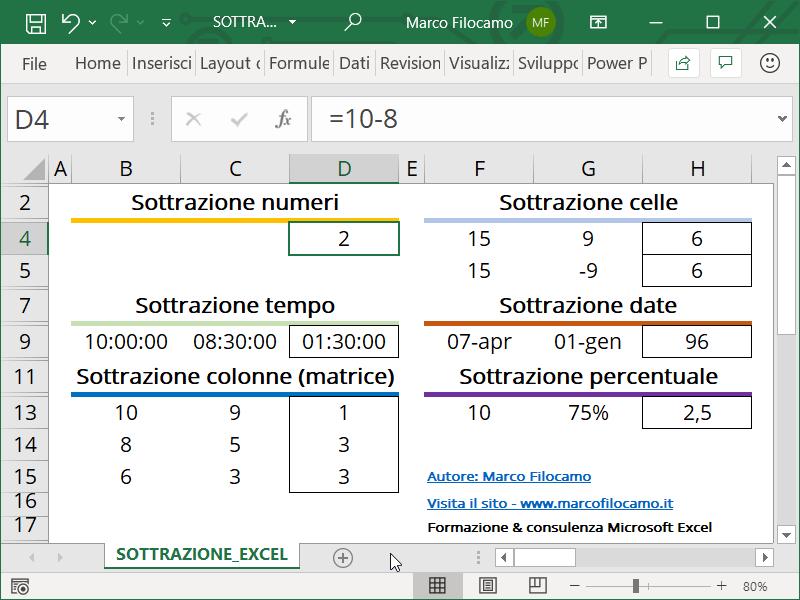 Schermata Excel sottrazione numeri