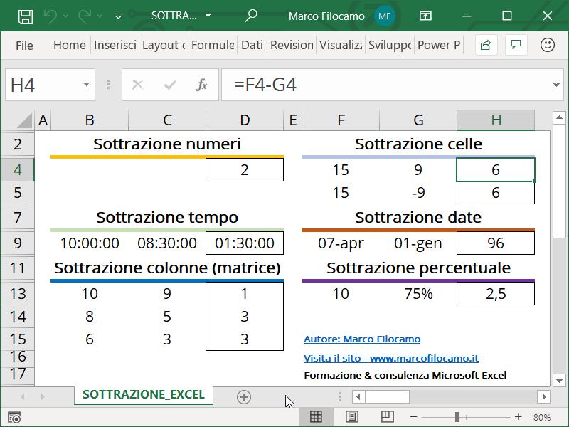 Schermata Excel sottrazione celle