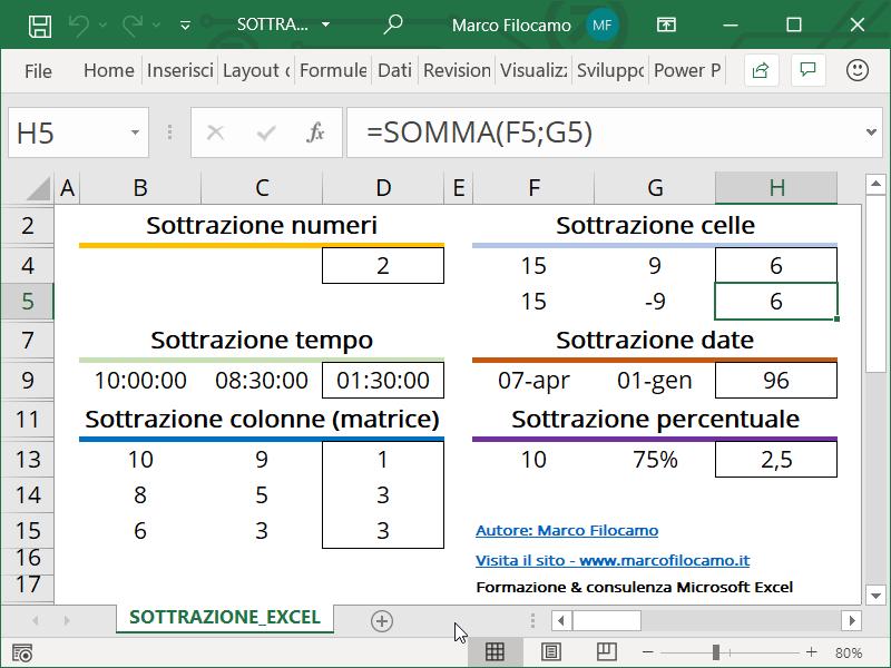 Schermata Microsoft Excel formula somma numeri negativi sottrazione