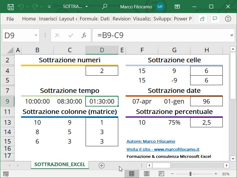 Schermata Microsoft Excel formula sottrazione ore minuti
