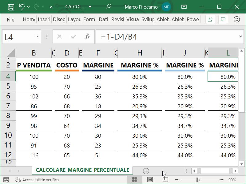 Microsoft_Excel_Calcolare_Margine_Percentuale_Con_Margine